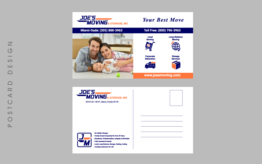 Design graphique Joes Moving Postcard