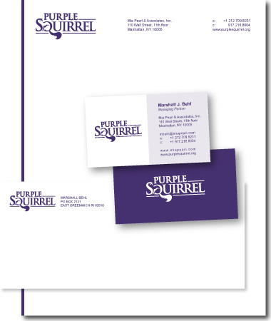 Stationery Design Purple Squirrel