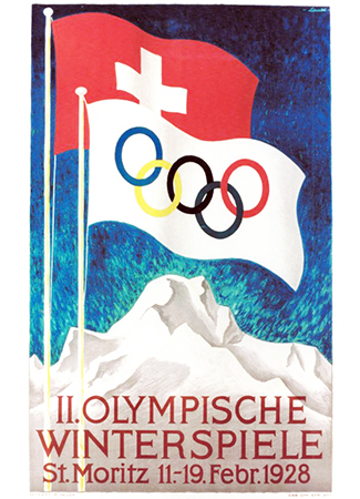 Olympics logo St. Motiz Switzerland 1928 winter